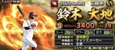 鈴木大地2020シリーズ1のステータス評価