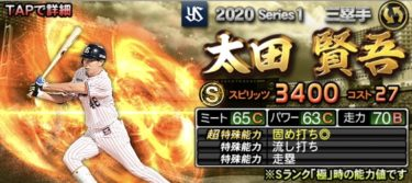 太田賢吾2020シリーズ1のステータス評価