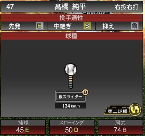 高橋純平2020シリーズ1の第2球種