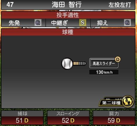 海田智行2020シリーズ1の第2球種