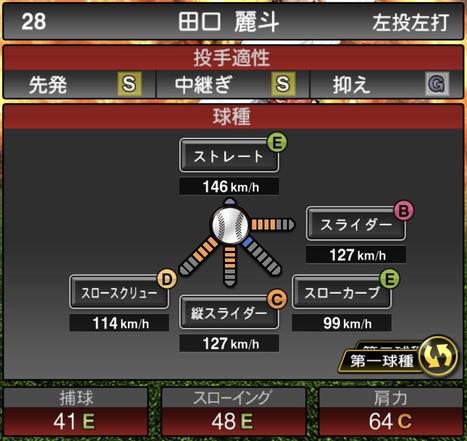 田口麗斗2020シリーズ1の第1球種