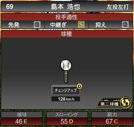 島本浩也2020シリーズ1の第2球種
