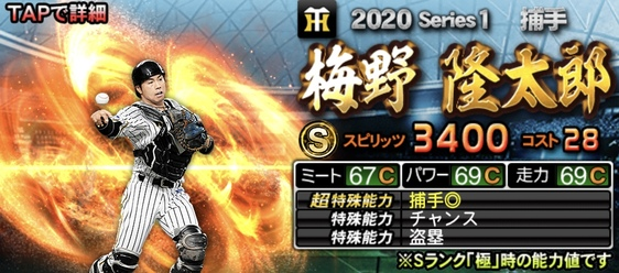 プロスピA梅野隆太郎2020年シリーズ1キャッチャー(捕手)最強ランキング4位