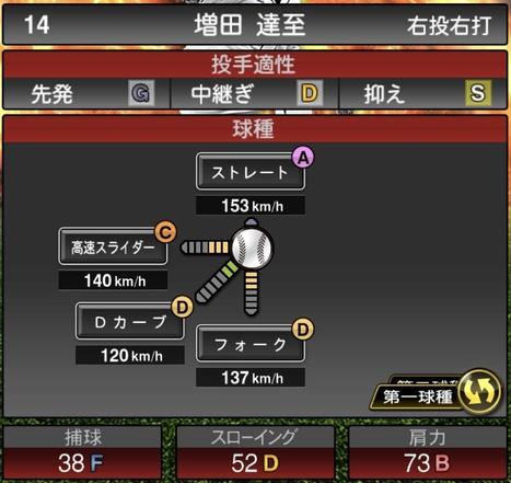 プロスピA増田達至2020シリーズ1の第1球種