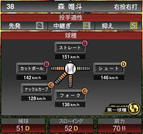 プロスピA森唯斗2020シリーズ1の第1球種