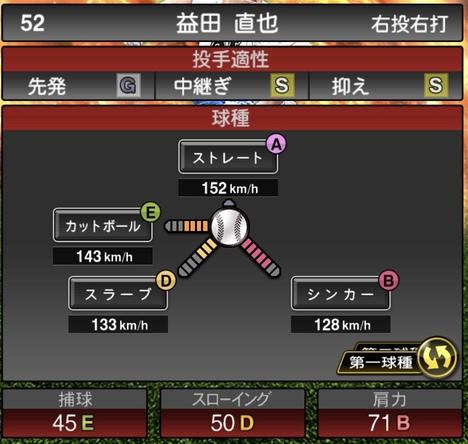 プロスピA益田直也2020シリーズ1の第1球種