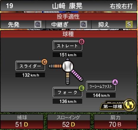 プロスピA山崎康晃2020シリーズ1の第1球種