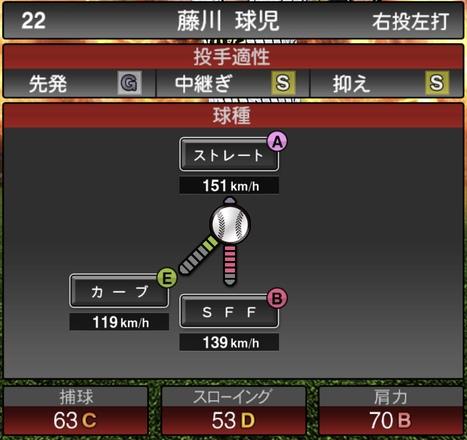 プロスピA藤川球児2020シリーズ1の第1球種