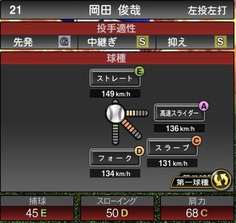 プロスピA岡田俊哉2020シリーズ1の第1球種