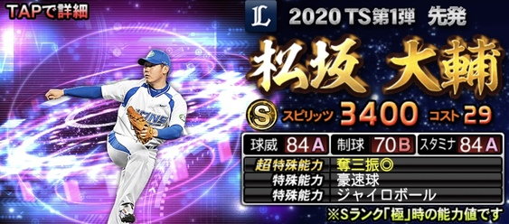 2020年TS(タイムスリップ)選手当たりランキング3位松坂大輔
