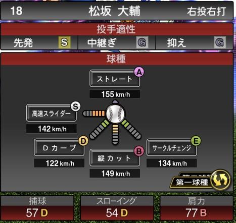 プロスピA松坂大輔TS2020シリーズ1の第1球種