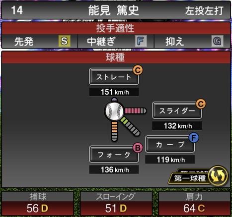 プロスピA能見篤史TS2020シリーズ1の第1球種