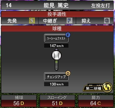 プロスピA能見篤史TS2020シリーズ1の第2球種