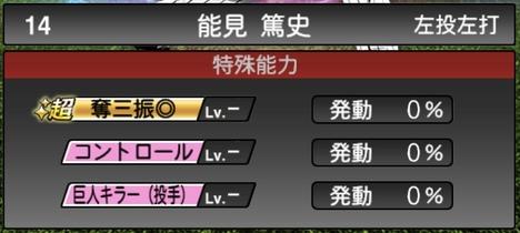 プロスピA能見篤史2TS020シリーズ1特殊能力評価