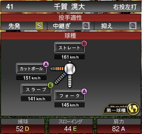 プロスピA千賀滉大2020シリーズ1の第1球種