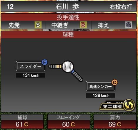 プロスピA石川歩2020シリーズ1の第2球種