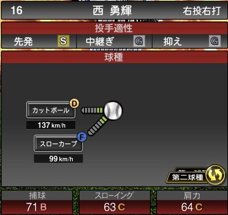 プロスピA西勇輝2020シリーズ1の第2球種