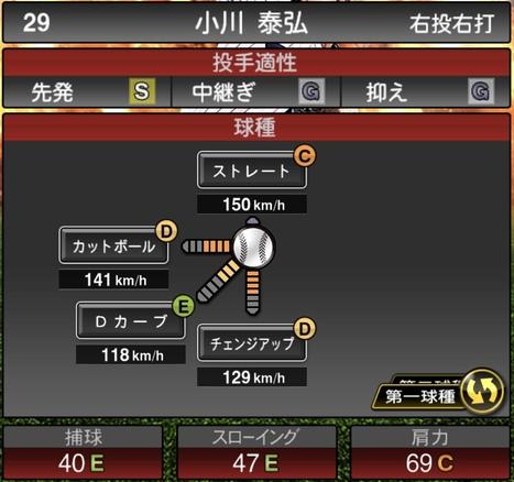 プロスピA小川泰弘2020シリーズ1の第1球種