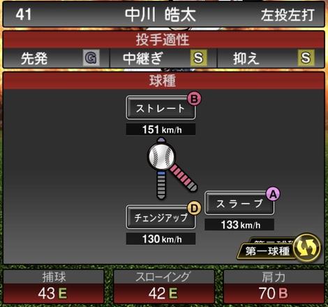 プロスピA中川皓太2020シリーズ1の第1球種