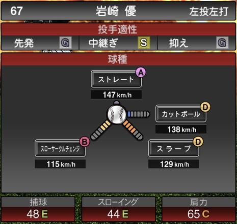 プロスピA岩崎優2020シリーズ1の第1球種
