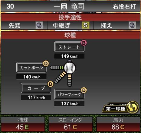 プロスピA一岡竜司2020シリーズ1の第1球種