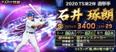 【プロスピA】TS 石井琢朗 2020シリーズ1のステータス評価(タイムスリップ)