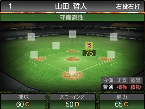 プロスピA山田哲人2020シリーズ1の守備評価