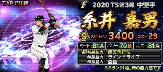 2020年TS(タイムスリップ)選手当たりランキング5位糸井嘉男
