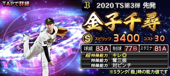 2020年TS(タイムスリップ)選手当たりランキング2位金子千尋