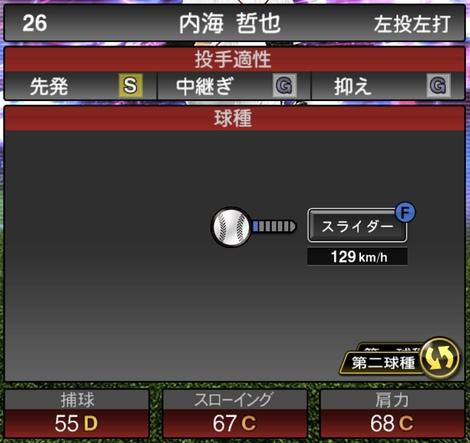 プロスピA内海哲也TS2020シリーズ1の第2球種
