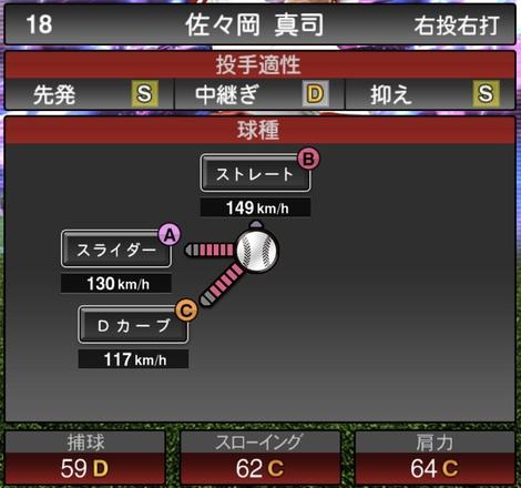 プロスピA佐々岡真司TS2020シリーズ1の第1球種