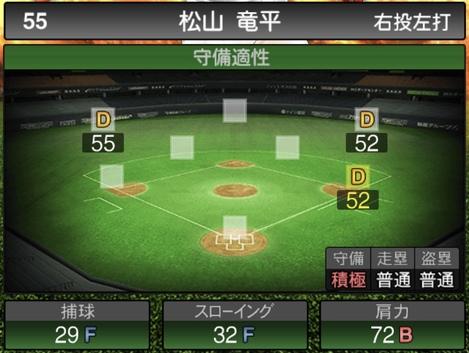 プロスピA松山竜平2020シリーズ1の守備評価