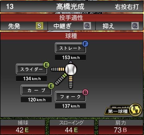 プロスピA髙橋光成2020シリーズ1の第1球種