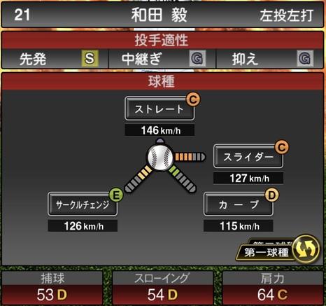 プロスピA和田毅2020シリーズ1の第1球種