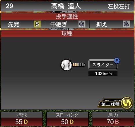 プロスピA髙橋遥人2020シリーズ1の第2球種
