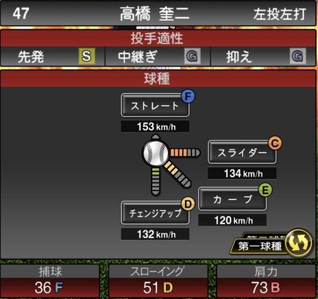 プロスピA高橋奎二2020シリーズ1の第1球種