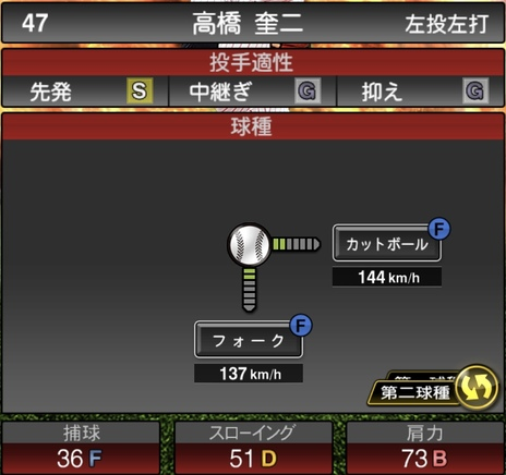 プロスピA高橋奎二2020シリーズ1の第2球種