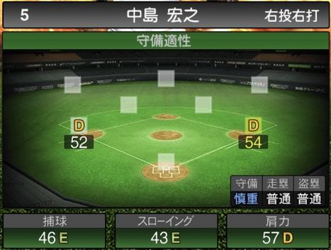 プロスピA中島宏之2020シリーズ1の守備評価