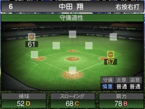 プロスピA中田翔2020セレクションシリーズ1の守備評価