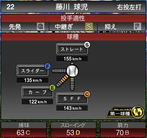 プロスピA藤川球児2020セレクションシリーズ1の第1球種