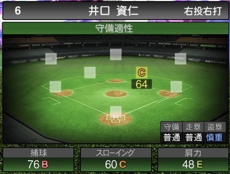 プロスピA井口資仁TS2020シリーズ1の守備評価