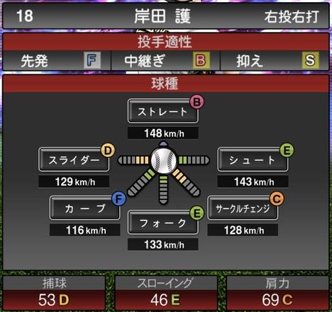 プロスピA岸田護TS2020シリーズ1の第1球種
