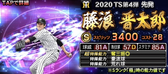 2020年TS(タイムスリップ)選手当たりランキング3位藤浪晋太郎