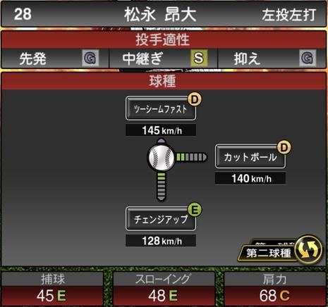 プロスピA松永昂大2020シリーズ1の第2球種