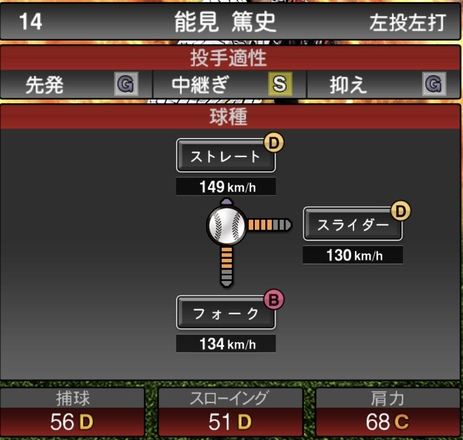 プロスピA能見篤志2020シリーズ1の第1球種