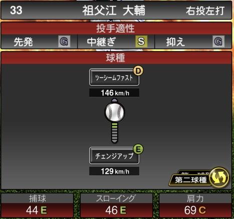 プロスピA祖父江大輔2020シリーズ1の第2球種