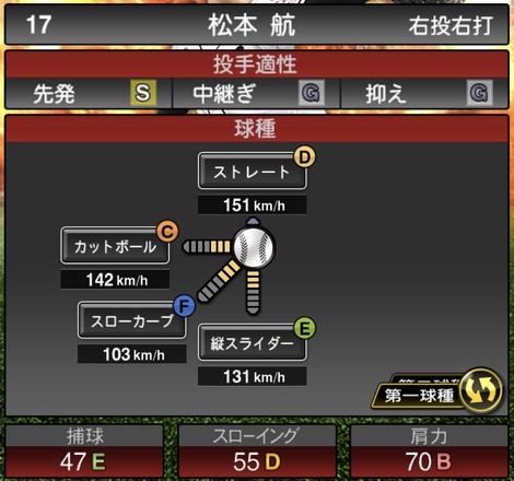 プロスピA松本航2020シリーズ1の第1球種
