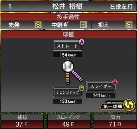 プロスピA松井裕樹2020シリーズ1の第1球種
