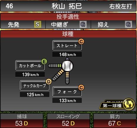 プロスピA秋山拓巳2020シリーズ1の第1球種